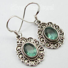 925 Pure Silver Genuine APATITE Gemstone DESIGNER OXIDIZED Earrings Pair 1.3""