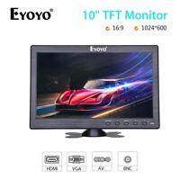 "EYOYO 10"" Inch Monitor BNC, AV, VGA, HDMI Video Input 16:9 + Speaker for PC DVD"