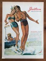 Original 1947 Magazine Print Ad JANTZEN Makes the World Swim Bathing Suits