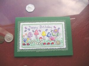 """Completed cross stitch hand made Birthday card """"Toadstools and caterpillar """""""