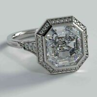 Vintage Art Deco Engagement Halo Ring 3.42Ct Asscher Diamond 14K White Gold Over