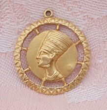 18K GOLD NEFERTITI ~ EGYPTIAN QUEEN ~ DETAILED LARGE Charm or Pendant