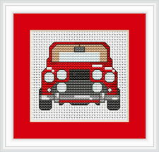 Red Mini Car Counted Cross Stitch Kit Beginner