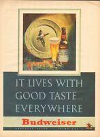 1947 Budweiser PRINT AD Beer Duck Plate