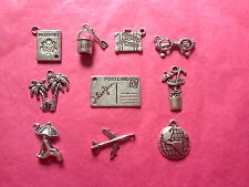 Tibetan Silver Mixed Holiday/Vacation/Travel Themed Charms 10 per pack