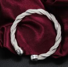 Women's Fashion Jewelry 925 Silver plating Filled Bangle DIY bracelet Xmas Gift