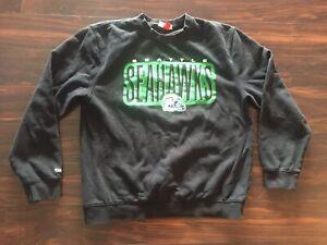Mitchell & Ness Mens Black Seattle Seahawks Throwback Sweatshirt SZ 2XL Used