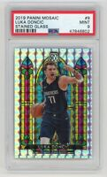 Luka Doncic Mavericks 2019 Panini Mosaic Stained Glass Prizm Card #9 PSA 9 MINT