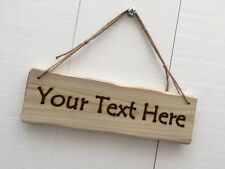 Handmade Personalised Rustic Wooden Design Your Own Text Sign Plaque 32cm x 10cm