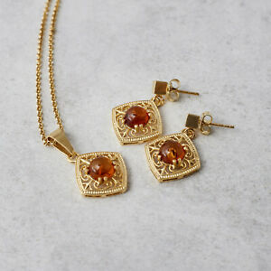 Amber Jewellery Set 14k Gold Plated Baltic Amber Studs Earrings Vintage Necklace
