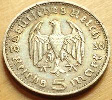 1936 F 5 mark German WWII Silver Coin Third Reich Reichsmark Hindenburg