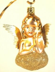 Christborn Resting Angel Glass Blown Ornament Gold Hair Paper Wing Silvered