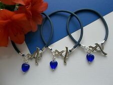 3 BLUE COLON CANCER AWARENESS BRACELETS WITH RIBBON TOGGLE CLASP