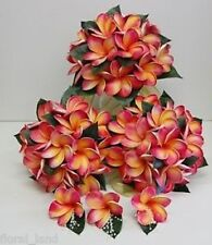 WEDDING FLOWER BOUQUET LATEX REAL TOUCH FRANGIPANI TROPICAL ORANGE FLOWERS SET