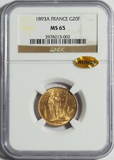 "1893A Gold 20 Franc NGC MS65 (WINGS Gold Sticker) -- ""Lucky"" Angel Coin"