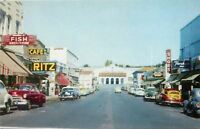 Oroville California~Main Business Street~Cafe~Ritz~Valley Music Shop~1950s Cars