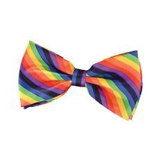 Adult Rainbow Striped Bow Tie Multi Gay Pride Clown Fancy Dress Accessory New