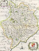 Antique Map of Monmouthshire by R. Blome fine details of county, Engraved c1673