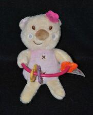 Peluche doudou ours PETIPOUCE beige rose fleur hochet plastique 15 cm NEUF