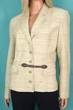 Vintage RETRO BLAZER Button Front Ivory/Tan/Brown BUTTE KNIT Jacket Polyester XL