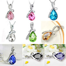 Fashion  Women Silver Chain Crystal Rhinestone Pendant Necklace Jewelry