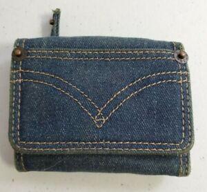 Vintage Levi Strauss Denim Wallet Tri Fold Blue Jean Wallet ID Pocket