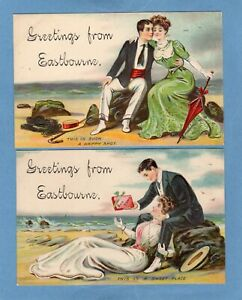2 Embossed Romance Greetings Eastbourne pcs unused Ref U56