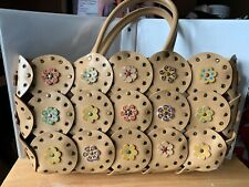 ESPRIT Large Boho Faux Leather Bag Tan Floral Circles with Rivets