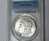 PCGS MS62 1887-S Morgan Silver Dollar Key San Francisco Mint Coin