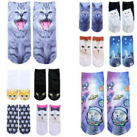 1Pair Women Fashion 3D Animal Cute Cats Printed Casual Socks Low Cut Ankle Socks