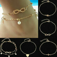 5 Pcs/Set Fashion Women Summer Beach Foot Chain Gold Silver Pearl Ankle Bracelet