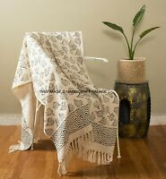 Beige Hand Block Cotton Traditional Como Blanket Home Chair / Sofa / Bed Throws
