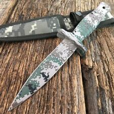 """9"""" Double Edge DESERT Camo Tactical Hunting Dagger Boot Knife Throwing Blade T"""
