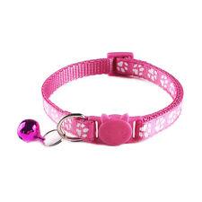Collar Cat Kitten Pet Breakaway Quick Release Paw Print Nylon Adjustable Pink