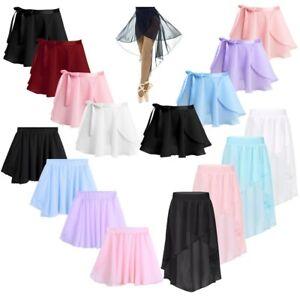 Girls High-Low Dance Chiffon Skirt Child Ballet Dance Wear Performing Wrap Skirt