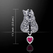 Celtic Kitties Cat .925 Sterling Silver Created Ruby Gem Pendant by Peter Stone