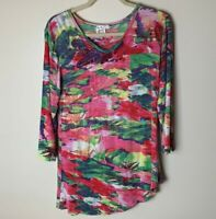 Parsley & Sage Women's Tunic Top Size Small 3/4 Sleeves V-Neck Asymmetrical Hem