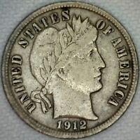 1912 Silver Barber Dime 10 Cent US Coin 10c VF Very Fine Philadelphia K33