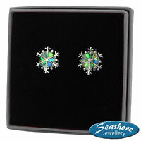 Snowflake Earrings Abalone Paua Shell Silver Fashion Jewellery Gift Boxed