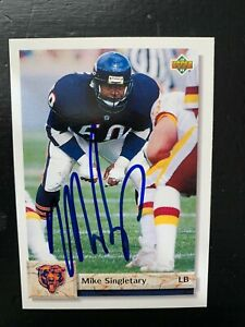 Mike Singletary Autographed Signed 1992 Upper Deck card #568 Chicago Bears