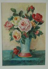 Aquarelle, Bouquet De Roses Dans Un Vase, XX ème