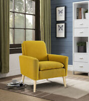 Arm Chair Accent Single Sofa Linen Fabric Upholstered Living Room Citrine US