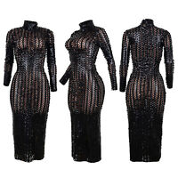Women's Sexy See-Through Metallic Long Sleeve Bodycon Midi Dress Evening Party