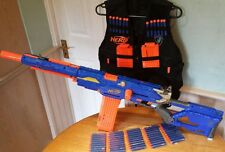 Nerf Longstrike CS-6  sniper rifle + tactical vest 3x clips + 60 new darts VGC.