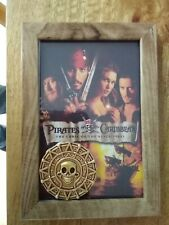 Pirates Of The Caribbean aztec Gold Coin prop replica in Framed Display 6x4