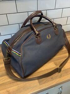 Fred Perry Limited Edition Bradley Wiggins Holdall Weekend Gym Bag + Strap Blue