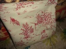 COUNTRY LIFE TOILE FABRIC RED & CREAM FLAGS BARRELS WAGON 82 X 44 (2.27 (YARDS)
