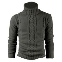 Kitz Druck Wolle Baumwolle Herren Pullover Mantel Wolljacke Dunkelgrau XL K O7P3
