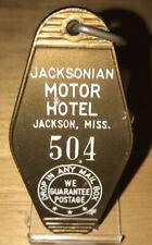 VINTAGE COLLECTABLE JACKSONIAN MOTOR HOTEL Room Key & Fob Jackson, Miss Rm504