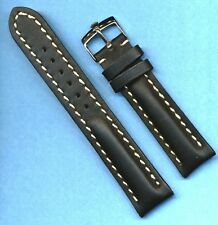 STEEL ROLEX BUCKLE &  18mm GENUINE LEATHER MB STRAP BAND WHITE STITCHING PADDED